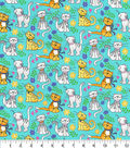 Novelty Cotton Fabric-Happy Cats Teal Glitter