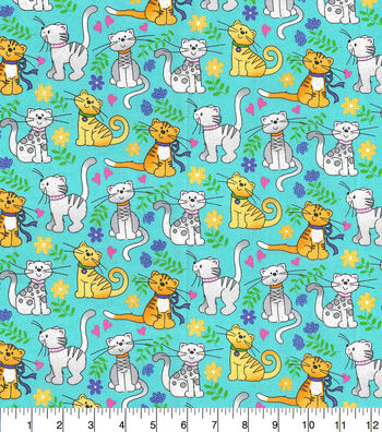 Novelty Glitter Cotton Fabric-Happy Cats on Teal