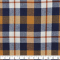 Plaiditudes Brushed Cotton Fabric-Navy, Gold & Ivory Grid Plaid