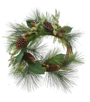 Handmade Holiday Christmas Pine, Pinecone & Lotus Pod Wreath