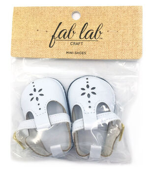 Fab Lab Craft Mini Doll Shoes with Flower-White