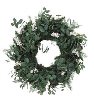 Handmade Holiday Christmas Greenery & White Berry Wreath
