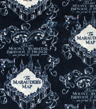 Harry Potter Fleece Fabric-Blue Marauders Map