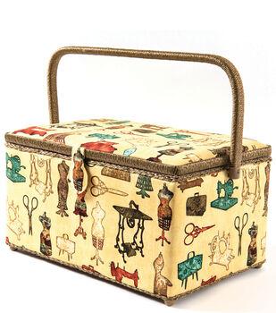 Extra Large Rectangle Sewing Basket-Vintage Sewing