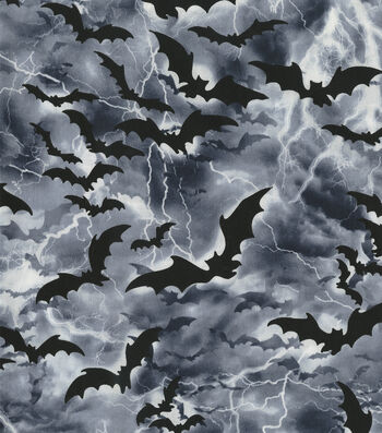 "Halloween Cotton Fabric 44""-Flying Bats in Nightime Sky"