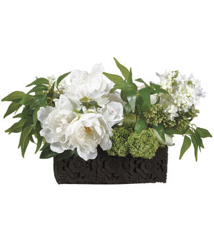 Lilac & Peony Mix in Carving Pot 12''-White & Green