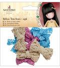 Santoro Gorjuss 12 pk Ribbon Trim Bows-Blue, Pink & Cream