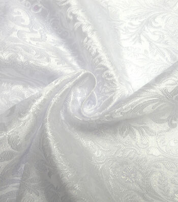 Glitterbug Brocade Fabric -Iridescent White Paisley