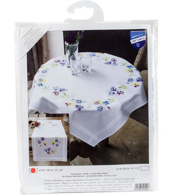 """Pretty Pansies Table Runner Stamped Embroidery Kit-16""""X40"""""""