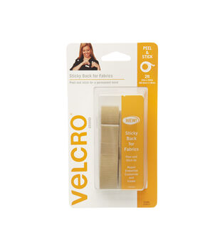VELCRO Brand Sticky Back for Fabrics, 24in x 3/4in tape, beige