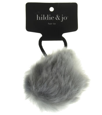 hildie & jo Pom Hair Tie-Gray