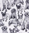 Anti-Pill Plush Fleece Fabric-Sketched Dogs