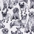 Anti-Pill Plush Fleece Fabric-Sketched Dogs