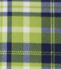 Blizzard Fleece Fabric-Lime & Navy Plaid