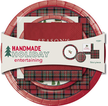 Handmade Holiday Entertaining Christmas Plate & Napkin Set-Tartan & Joy