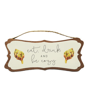 Simply Autumn 12''x5'' Wood Wall Decor-Eat, Drink & Be Cozy