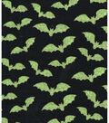 Halloween Cotton Fabric 43\u0022-Green Bats