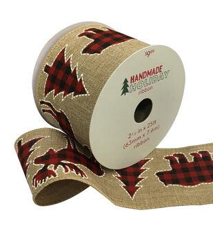 Handmade Holiday Christmas Ribbon 2.5''x25'-Red & Black Checked Animals