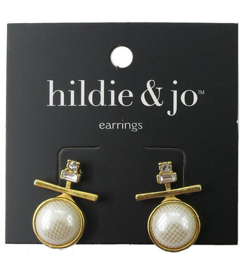 hildie & jo Bar with Pearl Gold Earrings-Clear Crystals