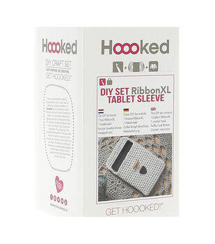 Hoooked RibbonXL Tablet Sleeve DIY Crochet Kit-Lemon Yellow