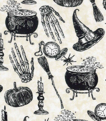 "Halloween Cotton Fabric 43""-Witches Spell"