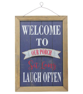 Americana Patriotic Wall Decor-Welcome to Our Porch Sit Long Laugh Often