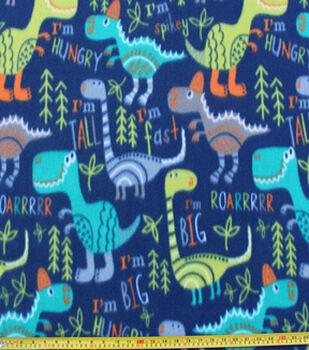 Blizzard Fleece Fabric -Dino On Navy