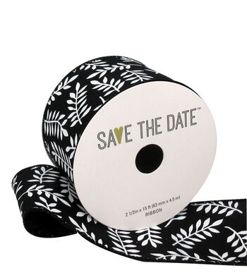 """Save the Date 2.5"""" x 15ft Ribbon-White Fern On Black"""