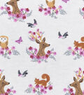 Nursery Flannel Fabric -Woodland Faces