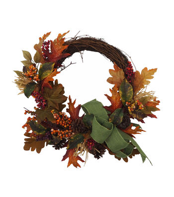 Blooming Autumn Maple Leaves, Berries & Pinecone Wreath