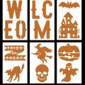 Maker\u0027s Halloween Craft 6 pk 6\u0027\u0027x10\u0027\u0027 Stencils-Scary Welcome
