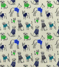 Snuggle Flannel Fabric-Sketched Pups In Sweaters
