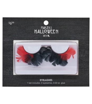 Maker's Halloween Feather Eyelashes & Glue-Black & Red