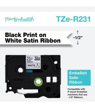 Brother P touch Embellish Satin Ribbon 0.47''x13.1' Black on White
