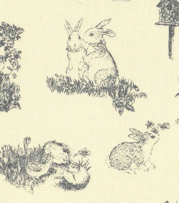 Easter Cotton Toile Fabric -Yellow with Bunny