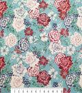 Silky Stretch Satin Textured Fabric-Big Floral on Aqua