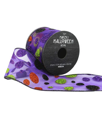 Maker's Halloween Sheer Ribbon 2.5''x12'-Glitter Dots on Purple