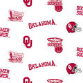 University of Oklahoma Sooners Cotton Fabric -White All Over