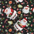 Christmas Cotton Fabric-Cookies For Santa Black