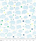Nursery Flannel Fabric -Airplane Clouds Stars White