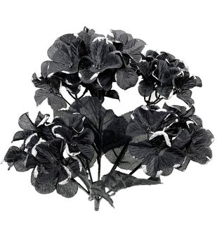 Maker's Halloween Hydrangea Bush-Silver Glitter on Black