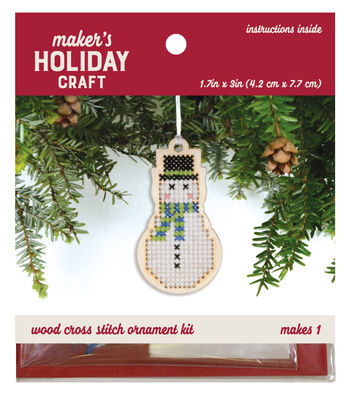 Wood Cross Stitch Ornament Kit-Snowman