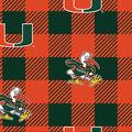 University of Miami Hurricanes Fleece Fabric-Buffalo Plaid