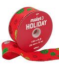 Maker\u0027s Holiday Christmas Ribbon 1.5\u0027\u0027x25\u0027-Glitter Dots on Red