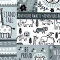 Nursery Flannel Fabric-Sweet Safari Tossed Animals Patchwork