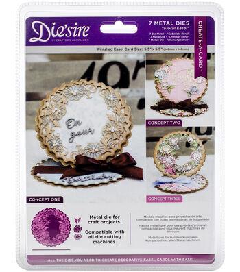 Die'sire Create-A-Card 7 pk Metal Dies-Floral Easel