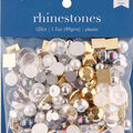 hildie & jo 120 pk Assorted Flat Back Rhinestones-Gold, White & Silver