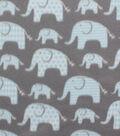 Blizzard Fleece Fabric 59\u0027\u0027-Elephants with Blue Geometrics