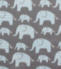 Blizzard Fleece Fabric -Elephants with Blue Geometrics