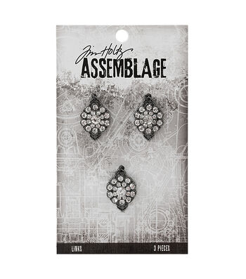 Tim Holtz Assemblage Pack of 3 Gemstone Flowers Links